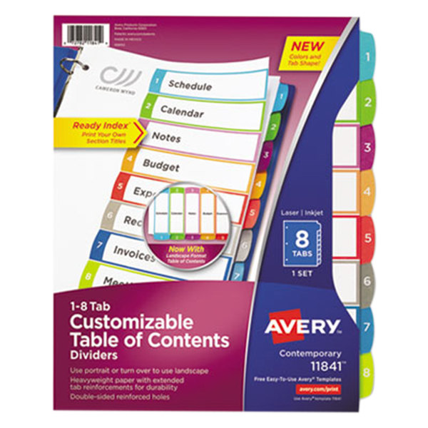 Avery 11841 ready index 8 tab multi color customizable for Avery table of contents template 15 tab