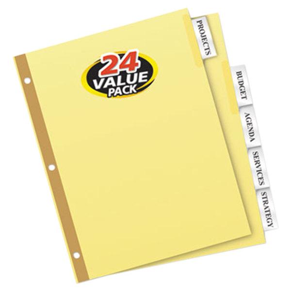 Avery 11113 Big Tab Buff Paper 5-Tab Clear Insertable Divider Set - 24/Box Main Image 1