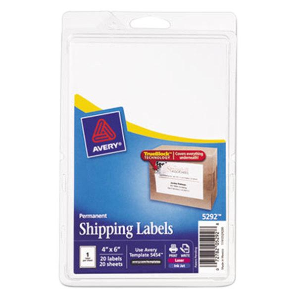 "Avery 5292 TrueBlock 4"" x 6"" White Shipping Labels - 20/Pack Main Image 1"