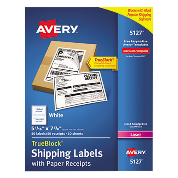 """Avery 5127 5 1/16"""" x 7 5/8"""" White Shipping Labels with Paper Receipts - 50/Pack"""