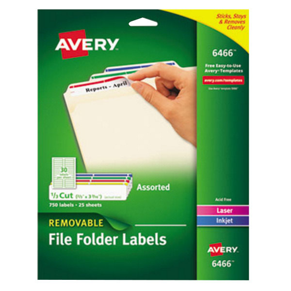 """Avery 6466 2/3"""" x 3 7/16"""" Assorted Color 1/3 Cut Removable Filing Folder Label - 750/Pack"""