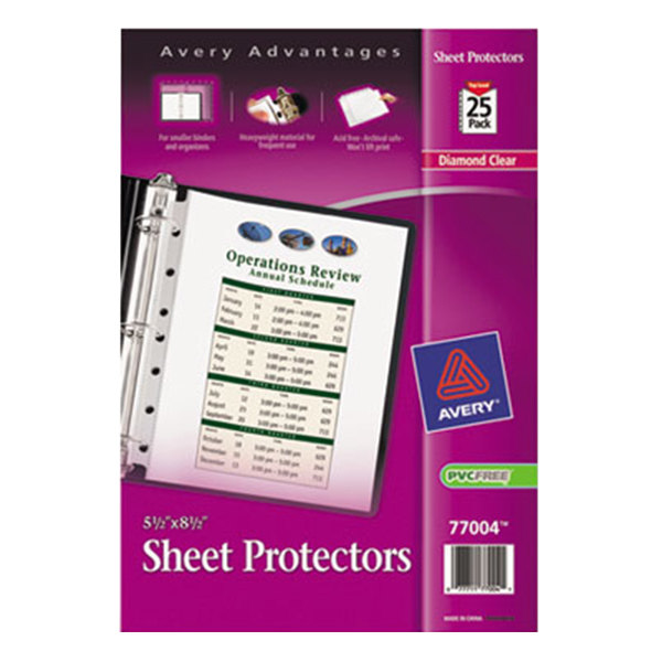 """Avery 77004 8 1/2"""" x 5 1/2"""" Diamond Clear Heavyweight Top-Load Sheet Protector, Half Letter - 25/Pack"""