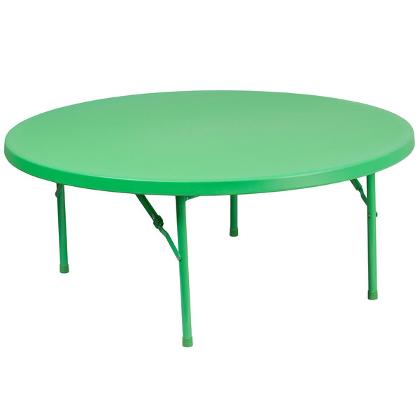 "Flash Furniture RB-48R-KID-GN-GG 48"" Round Kids Green Plastic Folding Table"