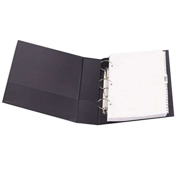 "Avery 6401 Black Durable Non-View Binder with 2"" Round Rings and Spine Label Holder Main Image 1"