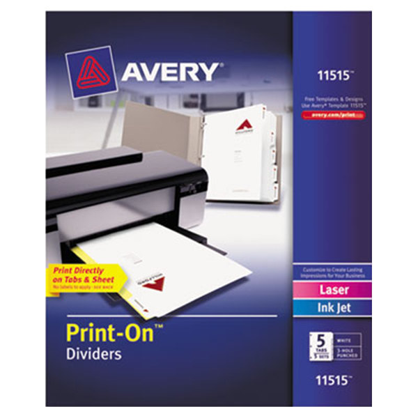 Avery 11515 Print-On 5-Tab White Divider Set - 5/Pack Main Image 1