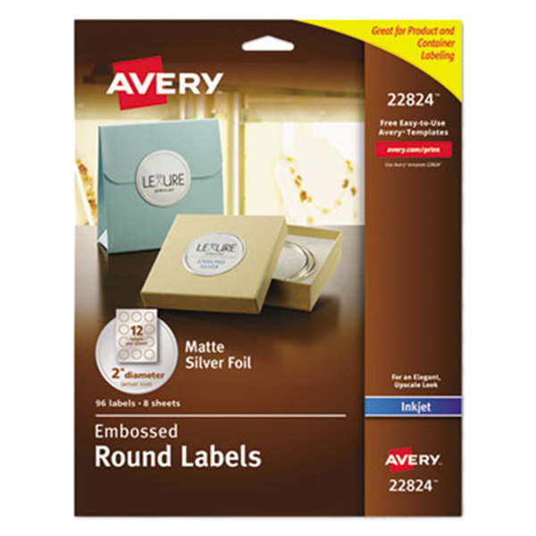 """Avery 22824 Easy Peel 2"""" Silver Embossed Matte Round Foil Labels - 96/Pack"""