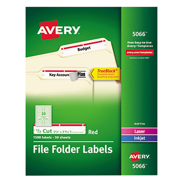 "Avery 5066 2/3"" x 3 7/16"" White Top Tab 1/3 Cut File Folder Labels with Red Borders - 1500/Box"