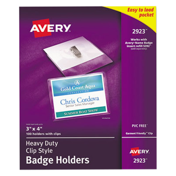 "Avery 2923 4"" x 3"" Clear Horizontal Top Clip-Style Badge Holders - 100/Pack Main Image 1"