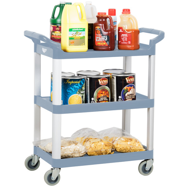 Vollrath 97006 Gray Multi-Purpose Utility Cart with Three Shelves Main Image 3