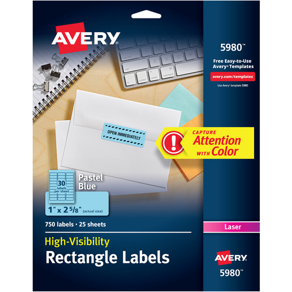 """Avery 5980 1"""" x 2 5/8"""" Pastel Blue Permanent High-Visibility ID Labels - 750/Pack Main Image 1"""