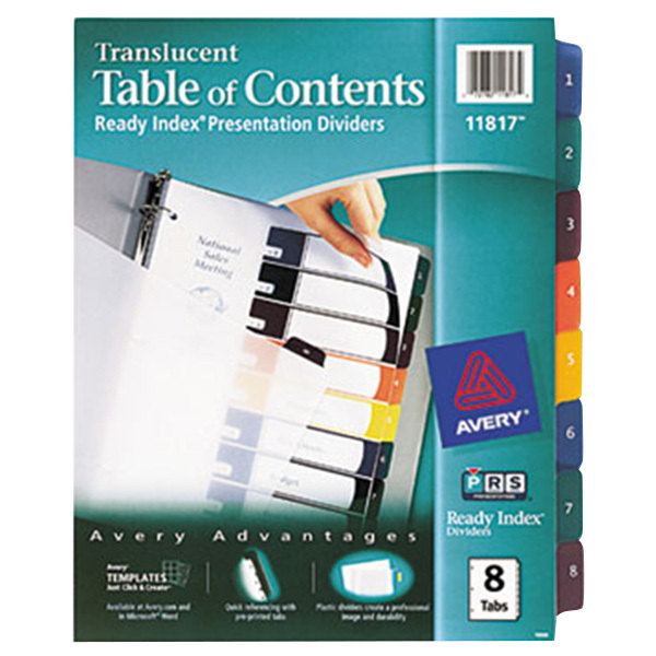 Avery 11817 Ready Index 8-Tab Multi-Color Plastic Table of Contents Dividers Main Image 1