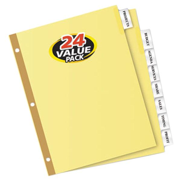 Avery 11115 Big Tab Buff Paper 8-Tab Clear Insertable Divider Set - 24/Box