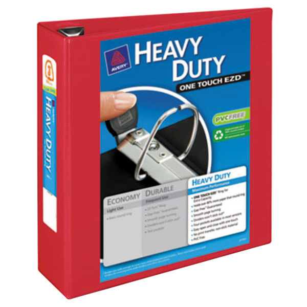 """Avery 79325 Red Heavy-Duty View Binder with 3"""" Locking One Touch EZD Rings"""