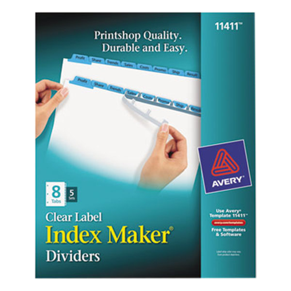 Avery 11411 Index Maker 8-Tab Blue Divider Set with Clear Label Strips - 5/Pack