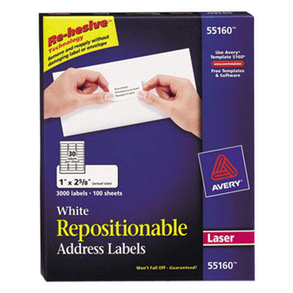 """Avery 55160 1"""" x 2 5/8"""" White Repositionable Mailing Address Labels - 3000/Box"""