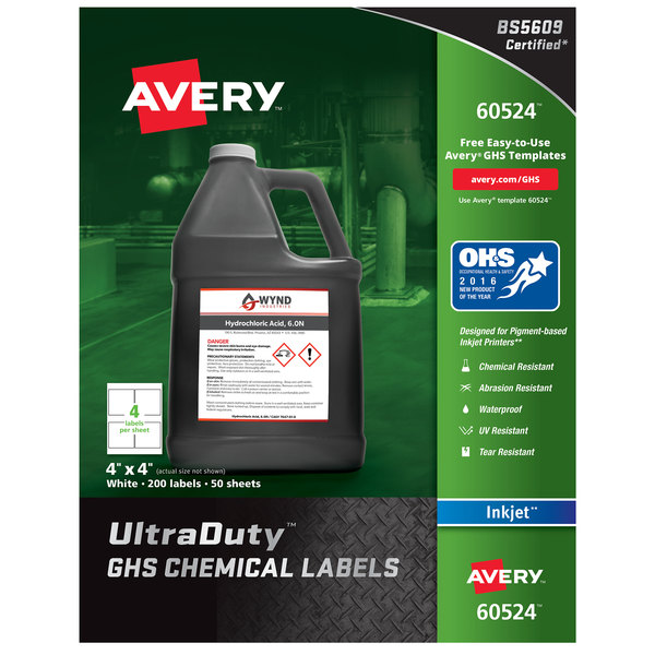 """Avery 60524 UltraDuty 4"""" x 4"""" GHS Chemical Labels for Pigment-Based Inkjet Printers - 200/Pack"""