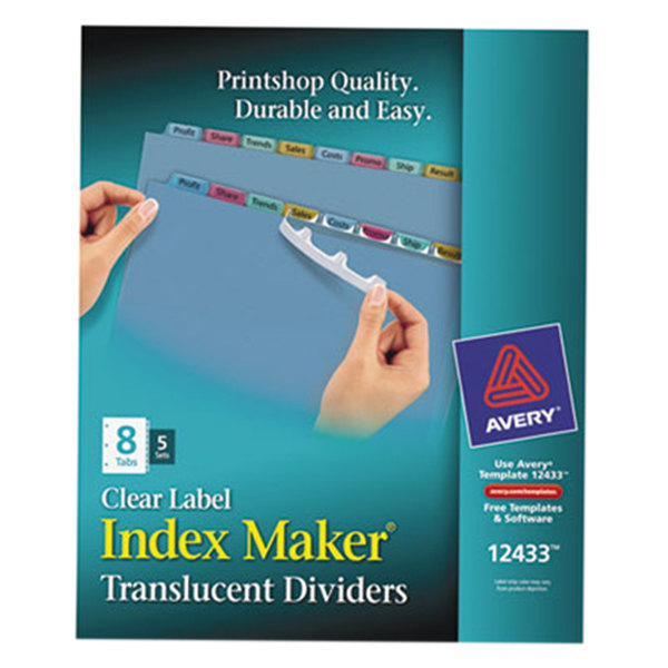 Avery 12433 Index Maker 8-Tab Multi-Color Plastic Clear Label Dividers - 5/Pack Main Image 1