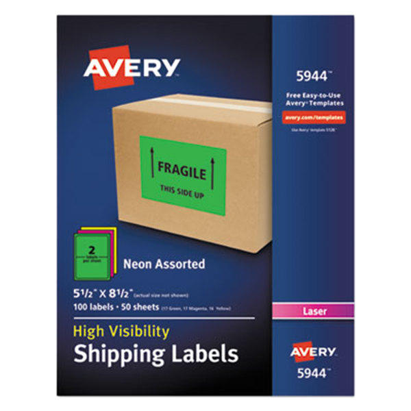 """Avery 5944 5 1/2"""" x 8 1/2"""" Neon Green Shipping Labels - 100/Box"""