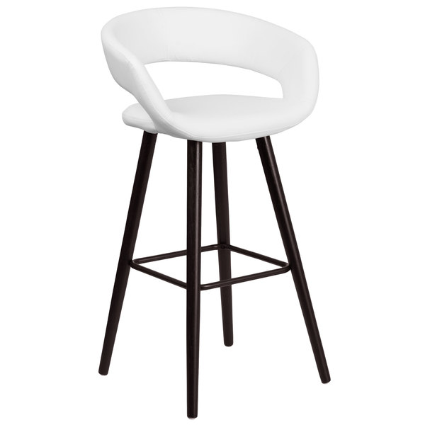 Flash Furniture CH 152560 WH VY GG Brynn Series Cappuccino Wood Bar Height  Stool With White Vinyl Seat