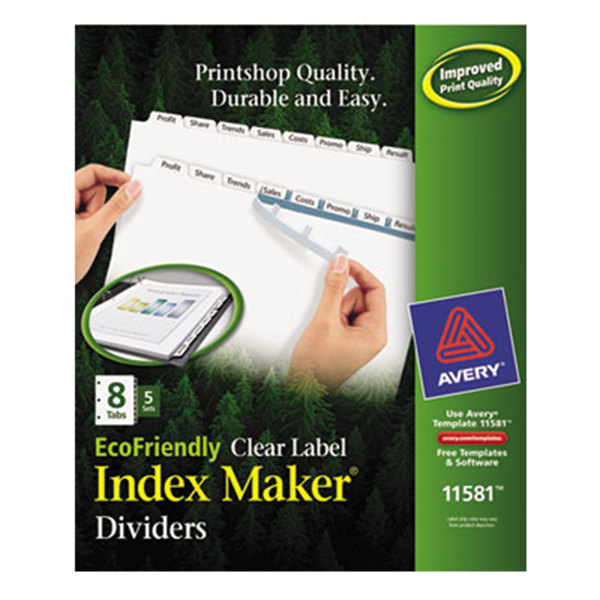 Avery 11581 EcoFriendly Index Maker 8-Tab White Divider Set with Clear Label Strips - 5/Pack Main Image 1