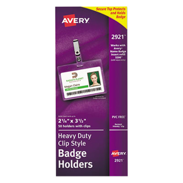"""Avery 2921 2 1/4"""" x 3 1/2"""" Clear Horizontal Clip-Style Badge Holders - 50/Pack"""