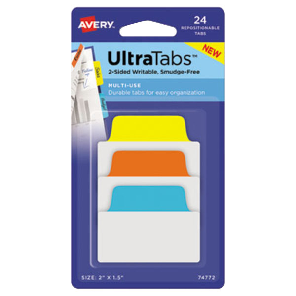 """Avery 74772 Ultra Tabs 2"""" x 1 1/2"""" Assorted Primary Color Repositionable Tab - 24/Pack Main Image 1"""