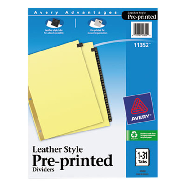 Avery 11352 Pre-Printed Black Leather 31-Tab Dividers Main Image 1