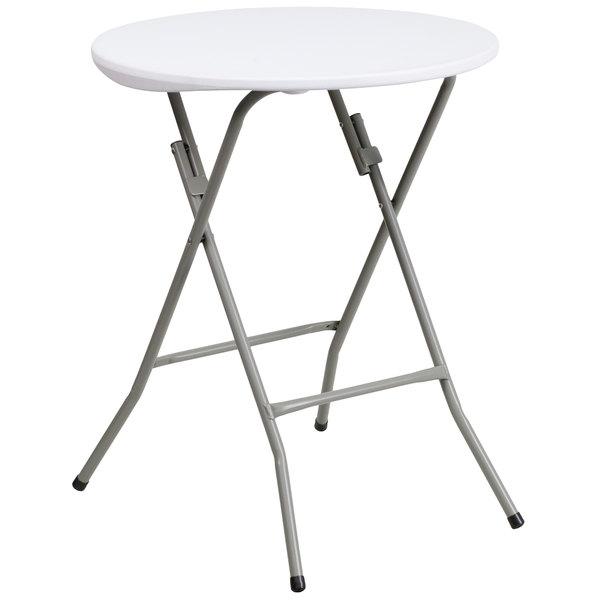 "Flash Furniture DAD-YCZ-80R-1-SM-GW-GG 24"" Round Granite White Plastic Folding Table Main Image 1"