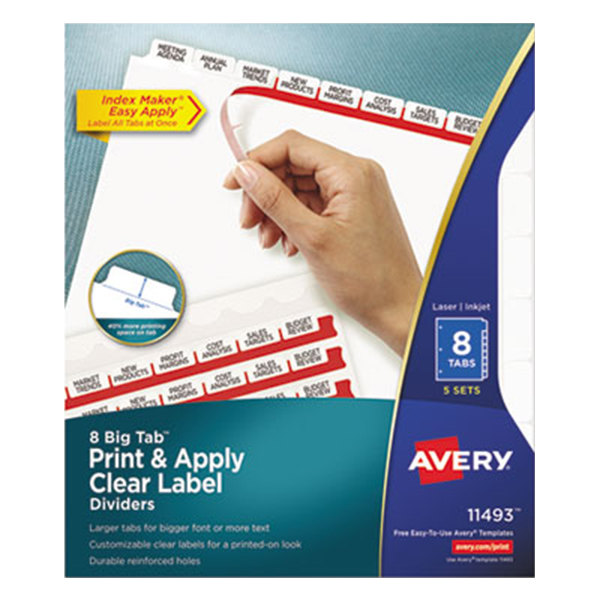 Avery 11493 Big Tab Index Maker 8-Tab Divider Set with Clear Label Strip - 5/Pack
