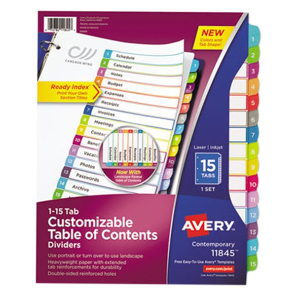 Avery 11845 15-Tab Multi-Color Customizable Table of Contents Dividers