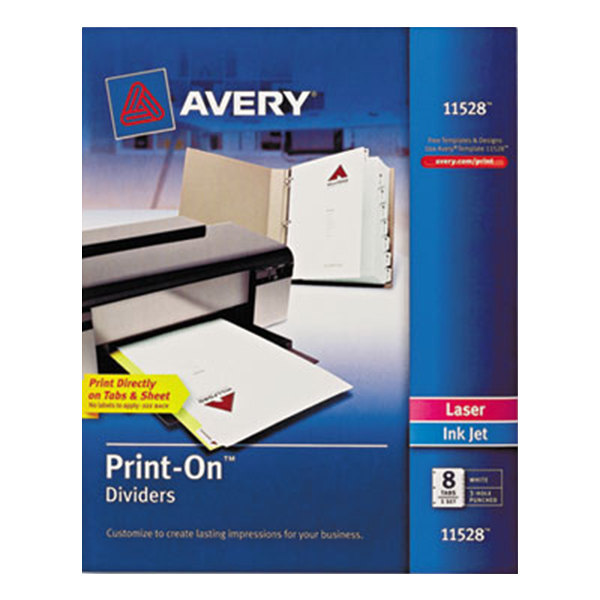 Avery 11528 Print-On 8-Tab White Dividers Main Image 1