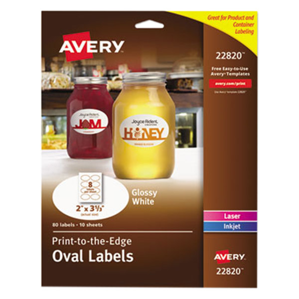 """Avery 22820 Easy Peel 2"""" x 3 1/3"""" True Print White Glossy Oval Print-to-the-Edge Labels - 80/Pack"""