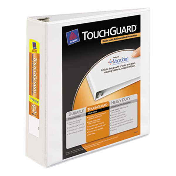 """Avery 17143 White TouchGuard Antimicrobial View Binder with 2"""" Slant Rings"""