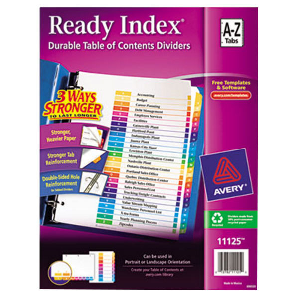 Avery 11125 Ready Index A-Z Multi-Color Table of Contents Dividers Main Image 1