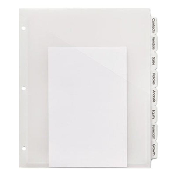 Avery 23121 Index Maker 8-Tab Plastic Clear Label Dividers with Pockets