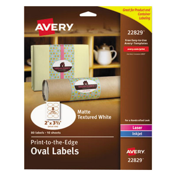 """Avery 22829 2"""" x 3 1/3"""" White Matte Textured Print-to-the-Edge Easy Peel Oval Labels - 80/Pack Main Image 1"""
