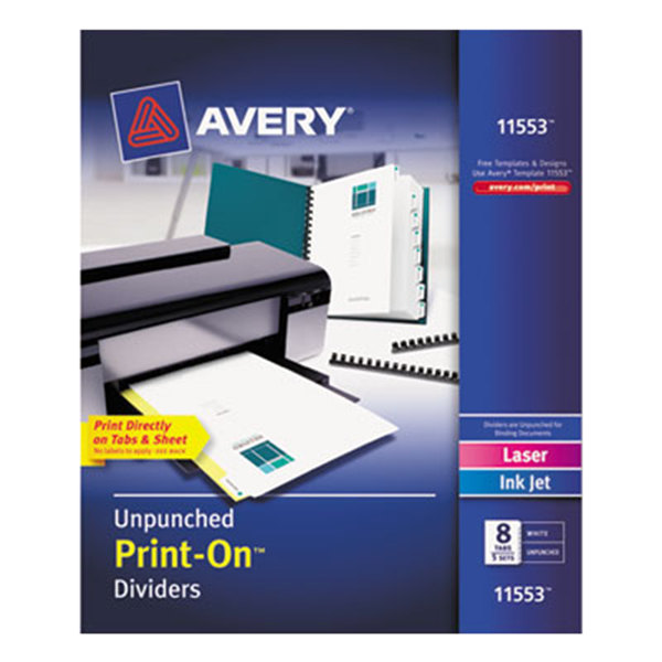 Avery 11553 Print-On 8-Tab Unpunched White Divider Set - 5/Pack Main Image 1