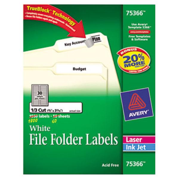 "Avery 75366 TrueBlock 2/3"" 3 7 /16"" White Permanent File"