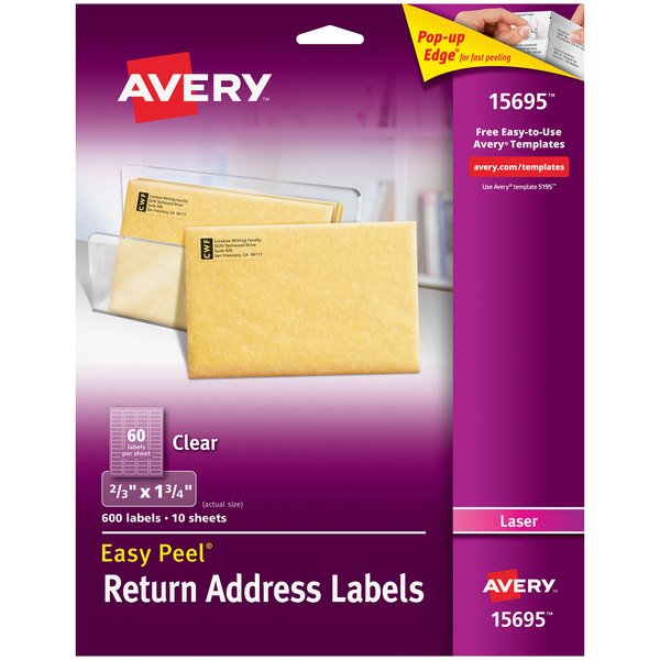 "Avery 15695 Easy Peel 2/3"" x 1 3/4"" Clear Laser Printer Return Address Labels - 600/Pack Main Image 1"