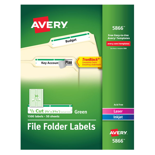 "Avery 5866 TrueBlock 2/3"" x 3 7/16"" Green File Folder Labels - 1500/Box Main Image 1"