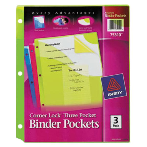 "Avery 75310 Corner Lock 9 1/4"" x 11"" Assorted Binder Pocket - 3/Pack Main Image 1"