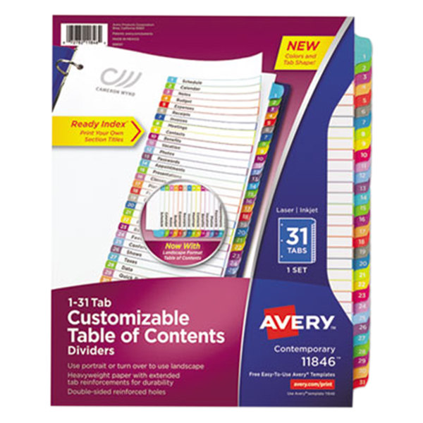Avery 11846 31-Tab Monthly Multi-Color Customizable Table of Contents Dividers Main Image 1
