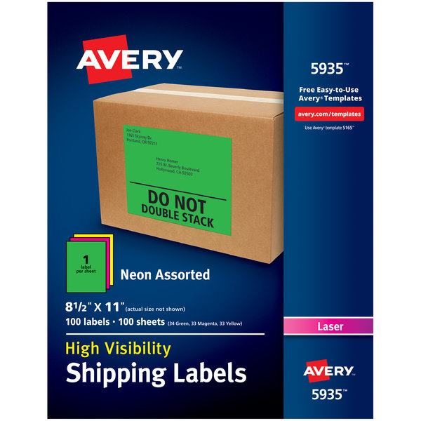 "Avery 5935 8 1/2"" x 11"" Assorted Neon Shipping Labels - 100/Box"