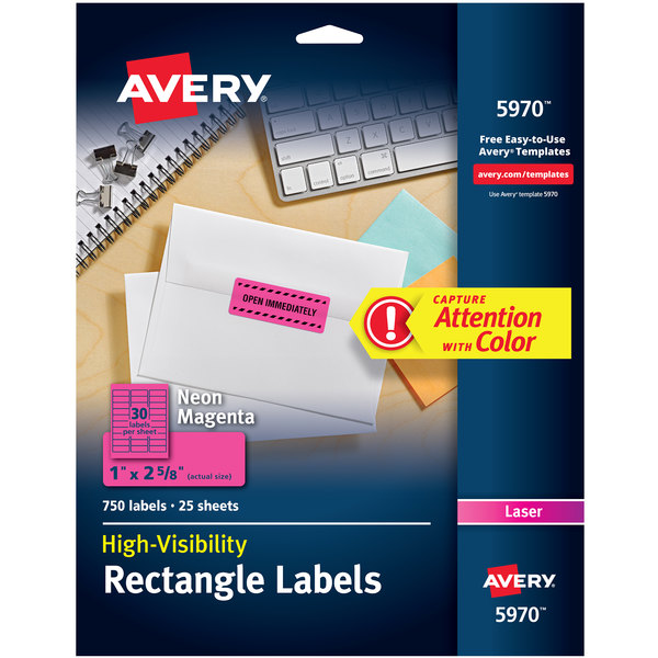 """Avery 5970 1"""" x 2 5/8"""" High-Visibility Neon Magenta ID Labels - 750/Box Main Image 1"""