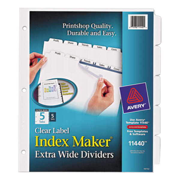 Avery 11440 Index Maker Extra Wide 5-Tab Divider Set with Clear Label Strip - 5/Pack Main Image 1