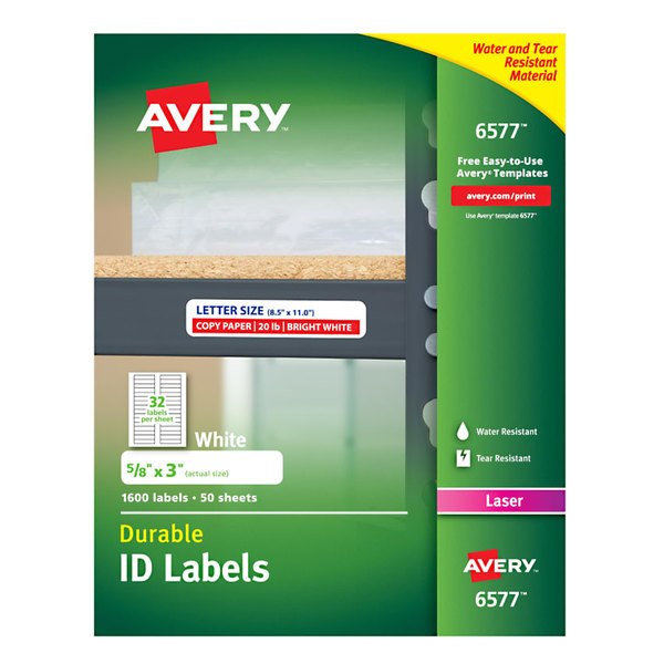 """Avery 6577 5/8"""" x 3"""" White Permanent ID Labels - 1600/Pack"""