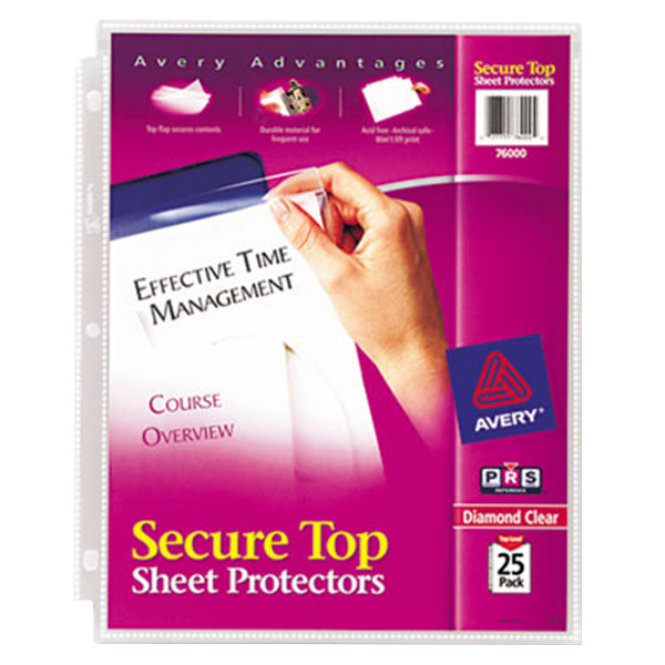 "Avery 76000 8 1/2"" x 11"" Diamond Clear Super Heavyweight Secure Top Sheet Protector, Letter - 25/Pack Main Image 1"