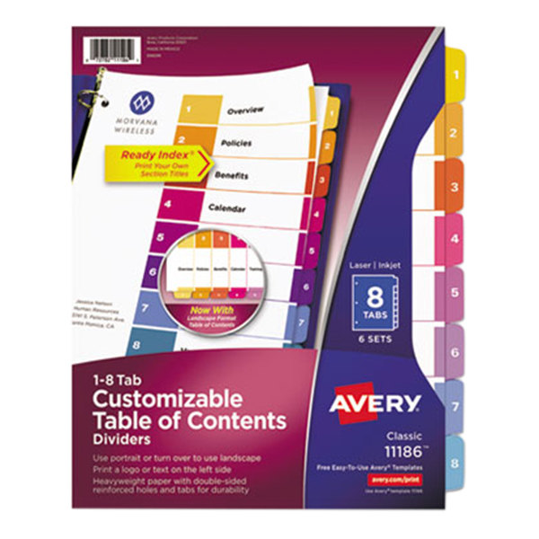 avery 11186 ready index 8 tab multi color table of With avery 6 tab dividers