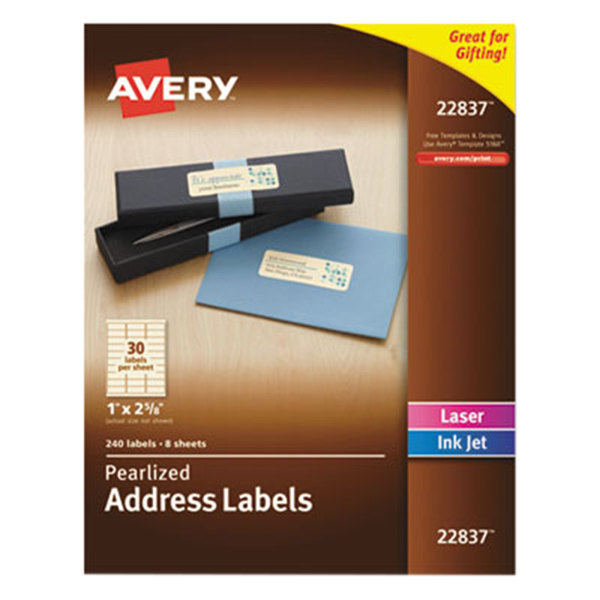 "Avery 22837 1"" x 2 5/8"" Pearlized Ivory Rectangular Address Labels - 240/Pack Main Image 1"