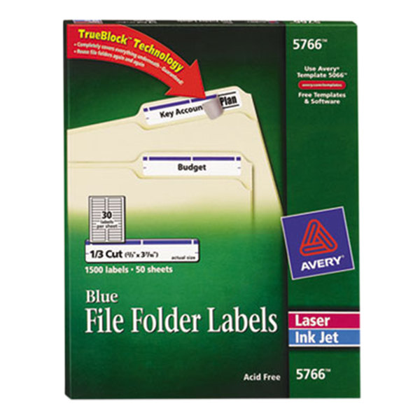 "Avery 5766 TrueBlock 2/3"" x 3 7/16"" Blue File Folder Labels - 1500/Box"